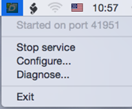 DLS icon and context menu (Mac)