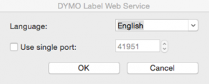 Web Service configuration dialog (Mac)